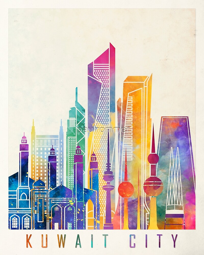 Kuwait city landmarks watercolor poster by paulrommer