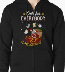 Cats For Everybody Funny Ugly Christmas Sweatshirt Zipped Hoodie