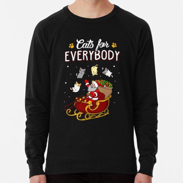 Cats For Everybody Funny Ugly Christmas Sweatshirt Lightweight Sweatshirt