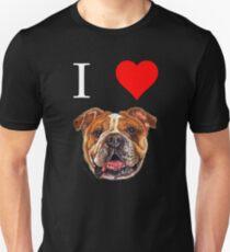 I Love English Bulldog T-shirt Dog Lover Tees  T-Shirt