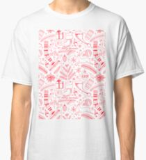 Doodle Christmas pattern red Classic T-Shirt