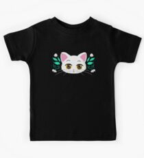 White kitty with green leaves and flowers Kids Clothes
