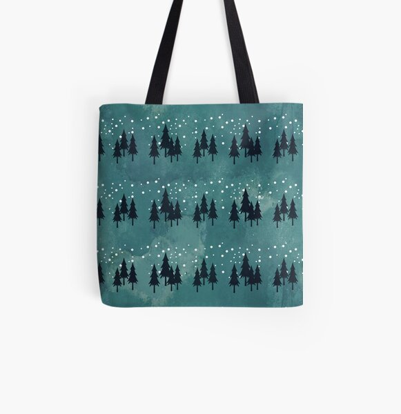 Snow landscape on arctic blue All Over Print Tote Bag
