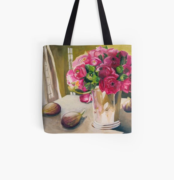 Ranunculus With Figs All Over Print Tote Bag