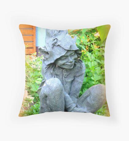 Happy Garden Elf Throw Pillow