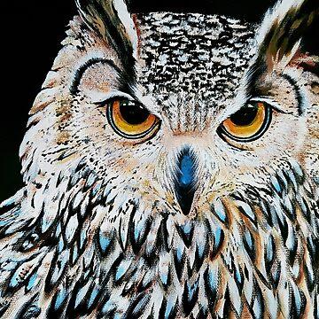 Owl portrait, acrylic on canvas by Katarinart