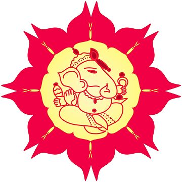God Ganesha on red flower by cycreation