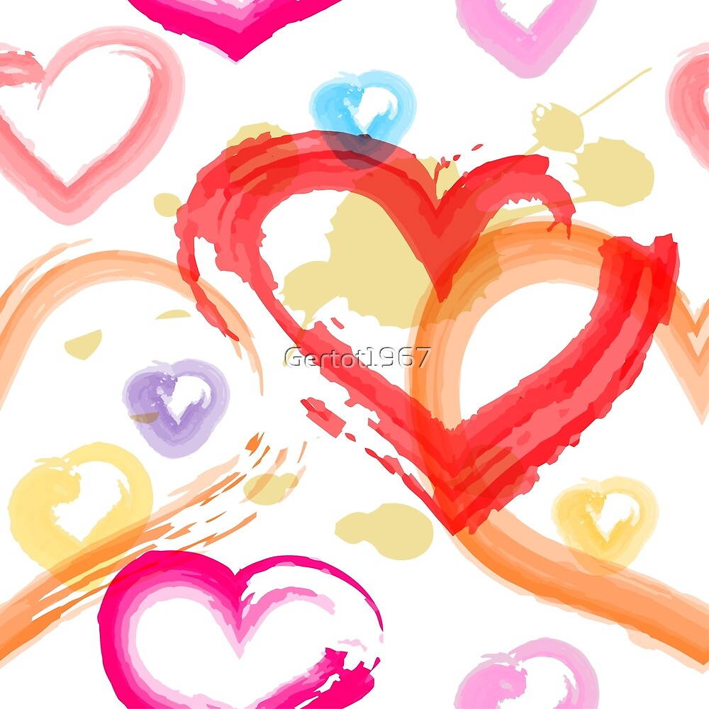 Watercolor painted hearts seamless pattern by Gertot1967