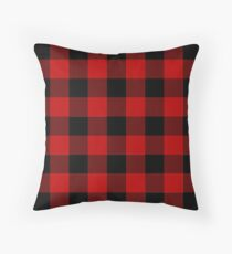 Red and Black Buffalo Plaid Check  Floor Pillow