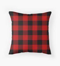 Red and Black Buffalo Plaid Check  Throw Pillow