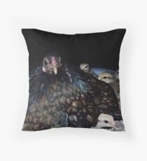 Dark Bantam Chicken and baby chicks Throw Pillow