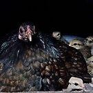 Dark Bantam Chicken and baby chicks by annofsilhouette