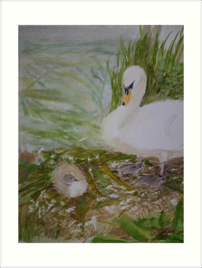 Swan and Cygnet by Peter Lythgoe