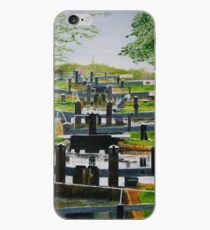 Looking down Audlem locks from lock No. 8 iPhone Case