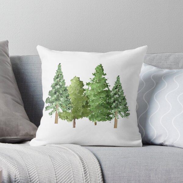 Christmas Winter Evergreen Pine Trees Throw Pillow