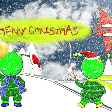 Merry Christmas from the Green Alien Children by ZipaC