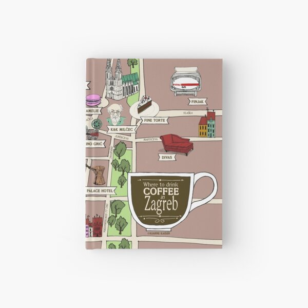Illustrated Zagreb Coffee Map? Hardcover Journal