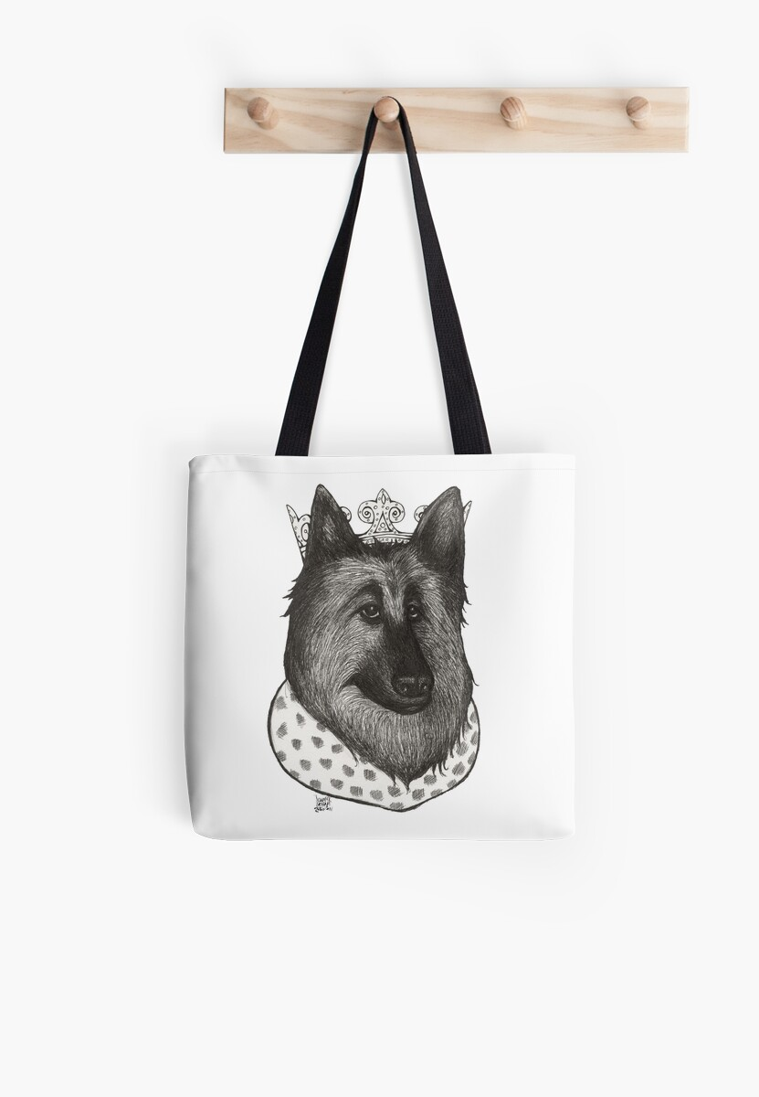 German Shepherd Royalty Tote Bag Pen Illustration by Jennifer Latham Robinson  by DitchFrame