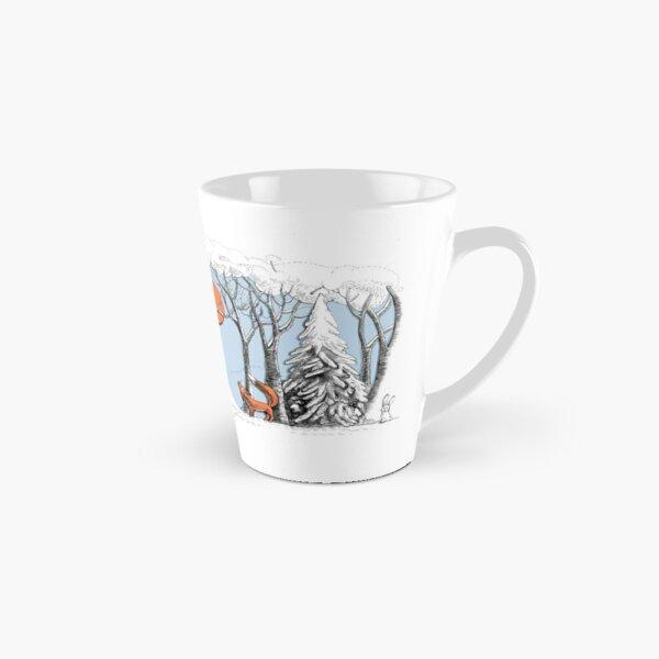 Winterwaldlandschaft mit Fuchs und Eule. Tasse (konisch)