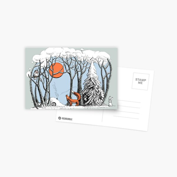 Winter forest landscape with fox and owl. Postcard