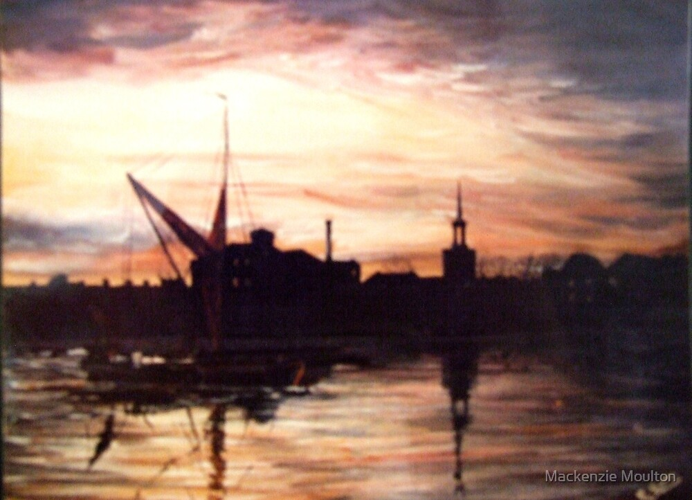 SAILING BARGE PASSING ST MARY'S CHURCH ROTHERHITHE LONDON by Mackenzie Moulton