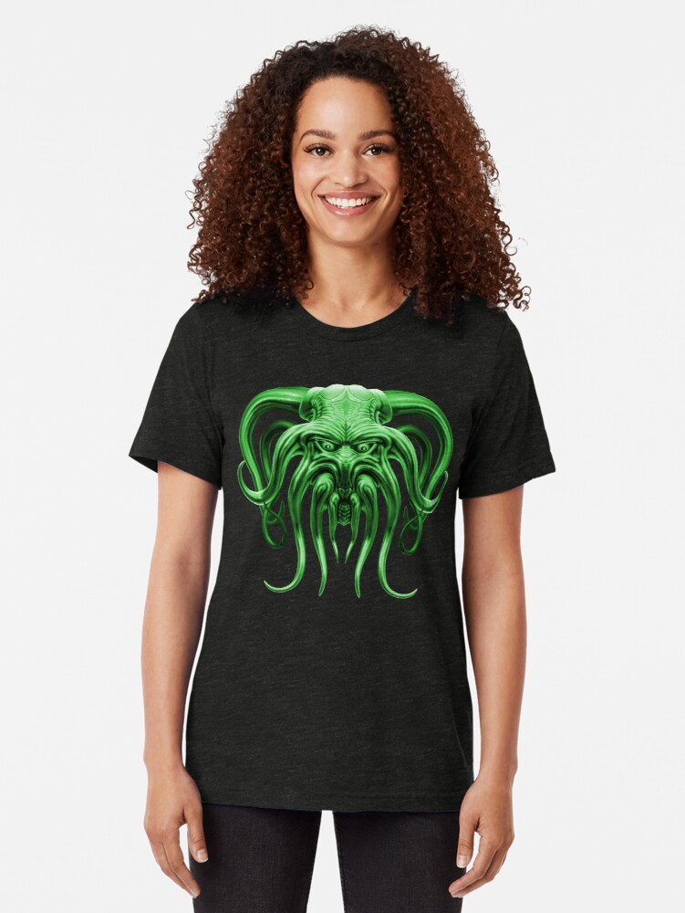 Alternate view of Cthulhu in Green Tri-blend T-Shirt