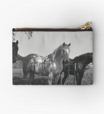 Horses black and white  Studio Pouch