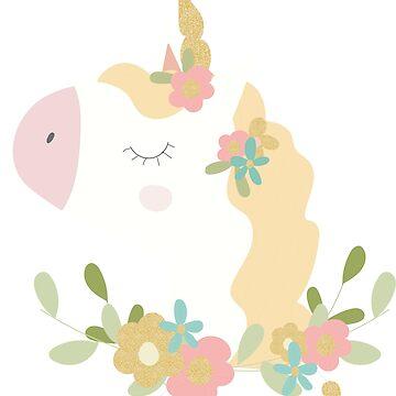 Floral Cute Unicorn 2 by cutecutedesigns