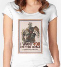 Trete der Revolution bei! Tailliertes Rundhals-Shirt
