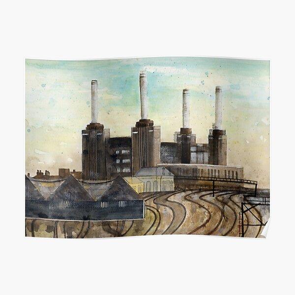 Battersea Power Station inondazione di Festival della Gran Bretagna 1951 POSTER