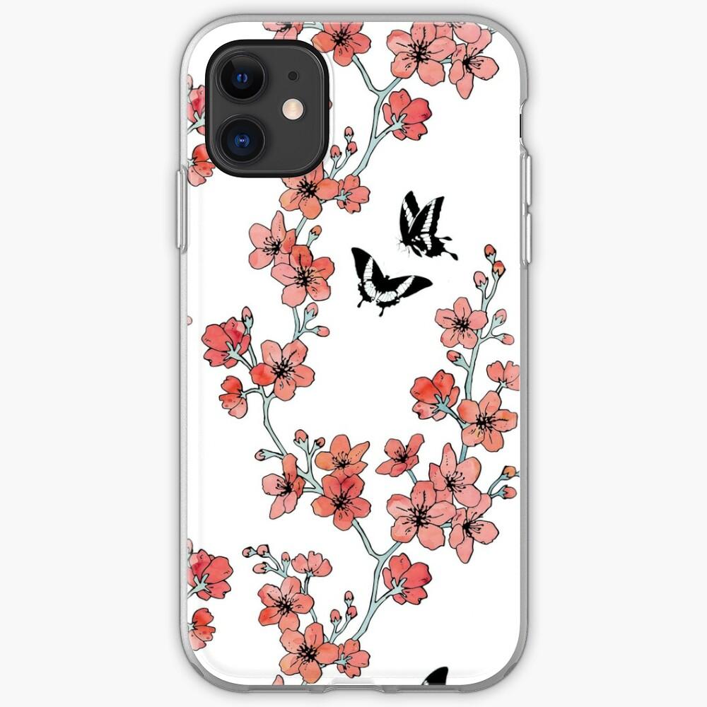 Sakura butterflies in peach pink watercolor iPhone Case & Cover