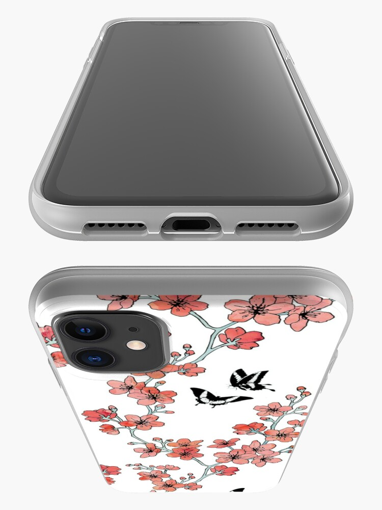 Alternate view of Sakura butterflies in peach pink watercolor iPhone Case & Cover