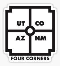 Four Corners - black and white Sticker
