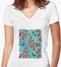 Sakura butterflies in turquoise Women's Fitted V-Neck T-Shirt
