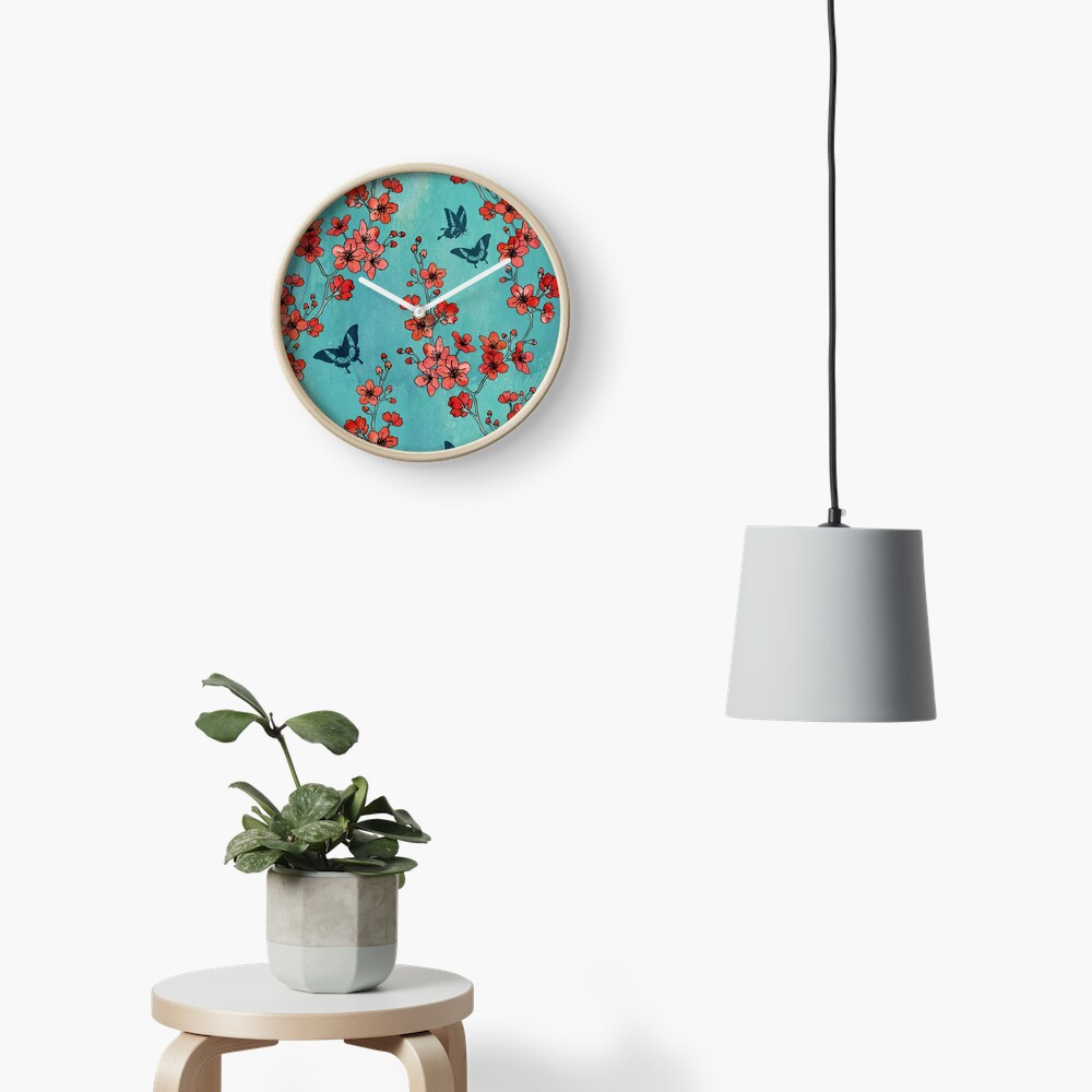 Sakura butterflies in turquoise Clock