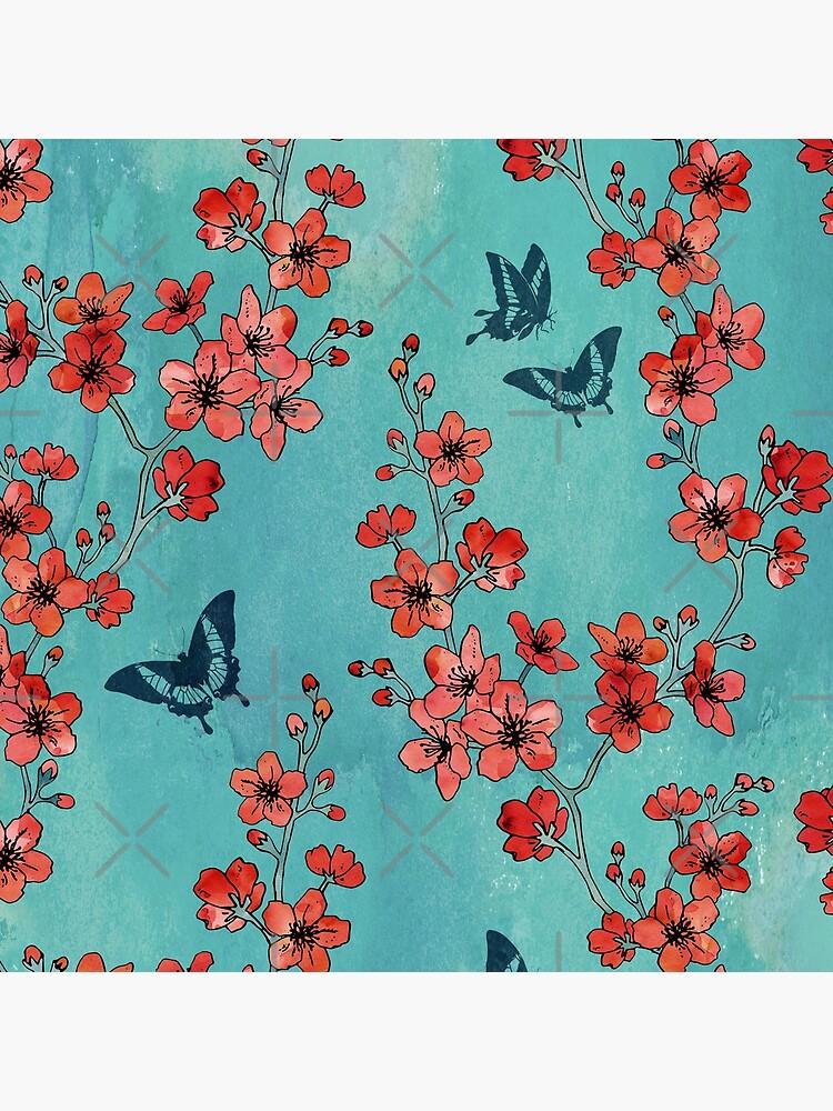 Sakura butterflies in turquoise by adenaJ