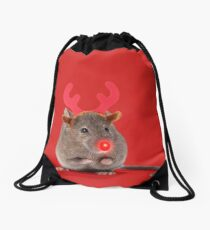 Mouse wearing Christmas antlers with red nose Drawstring Bag