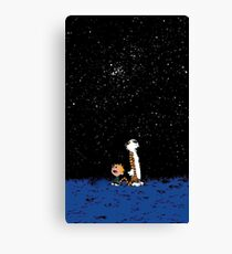 calvin and hobbes nigh Canvas Print