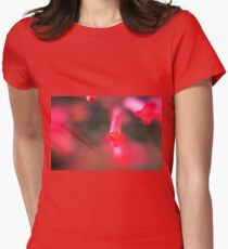 Extreme closeup of a flower with red petals  Women's Fitted T-Shirt