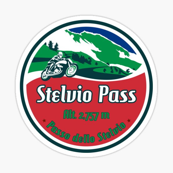 Stelvio Pass Design - Italian Flag Colors Sticker