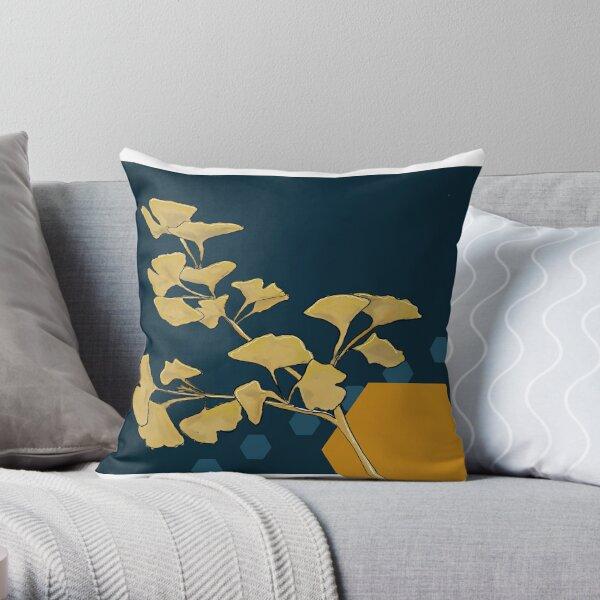 Gingko and Hexagons Throw Pillow