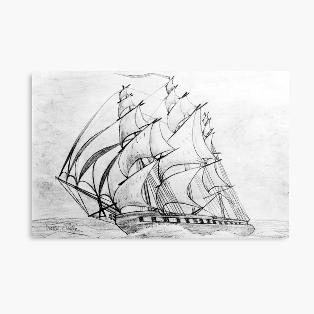 Graphite pencil drawing of a clipper ship at top speed 19th century metal print