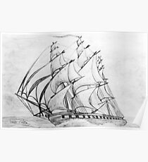 Graphite  Pencil Drawing of a Clipper Ship at Top Speed 19th century Poster