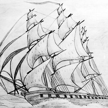 Graphite  Pencil Drawing of a Clipper Ship at Top Speed 19th century by ZipaC