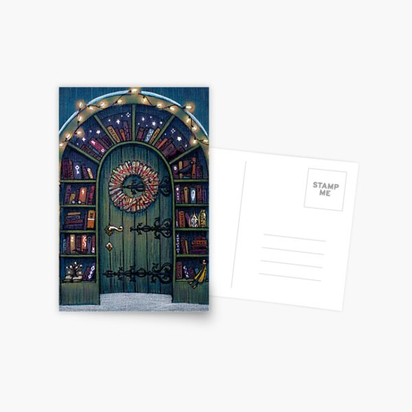 Magic World of Books Door Postcard