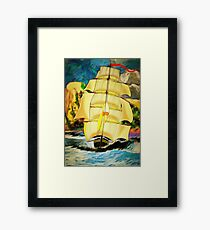 A Clipper Ship Sailing Out of Gibraltar Framed Print