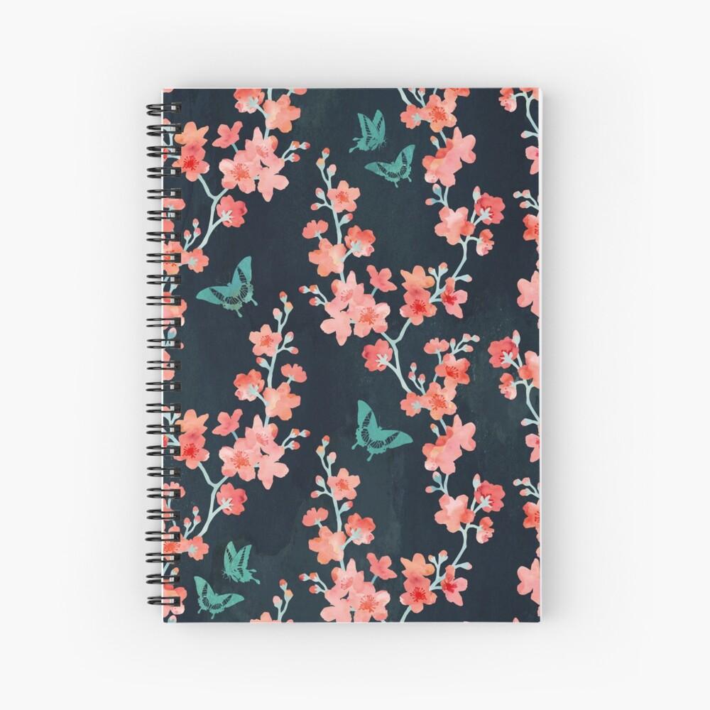Sakura butterflies bold Spiral Notebook