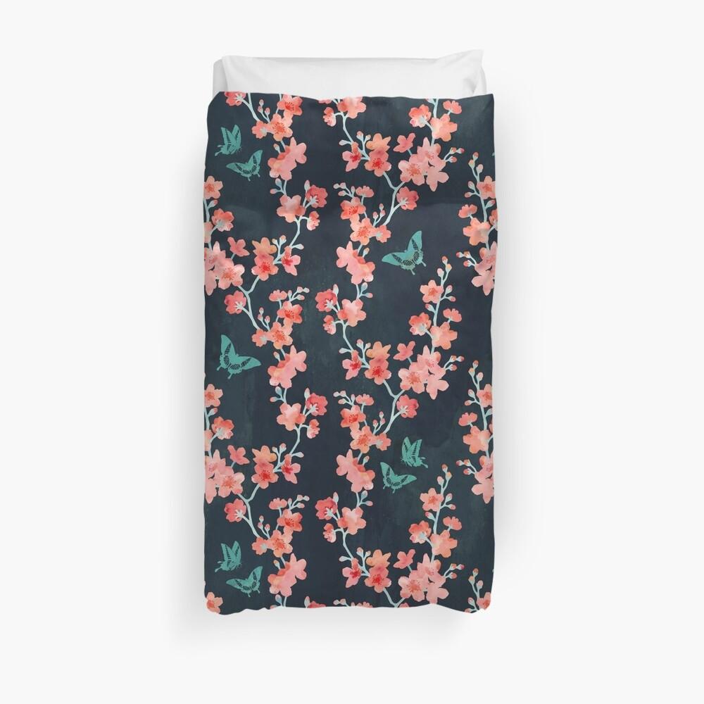 Sakura butterflies bold Duvet Cover