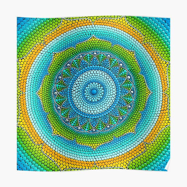 Green-Yellow mandala painting on canvas Poster
