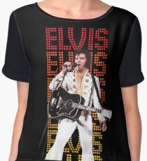 Elvis Presley, King of Rock and Roll, Type background Women's Chiffon Top